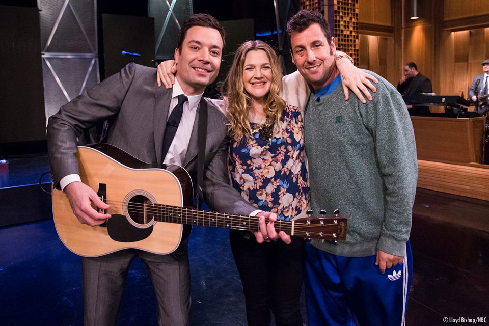 Drew Barrymore and Adam Sandler on Tonight Show with Jimmy Fallon