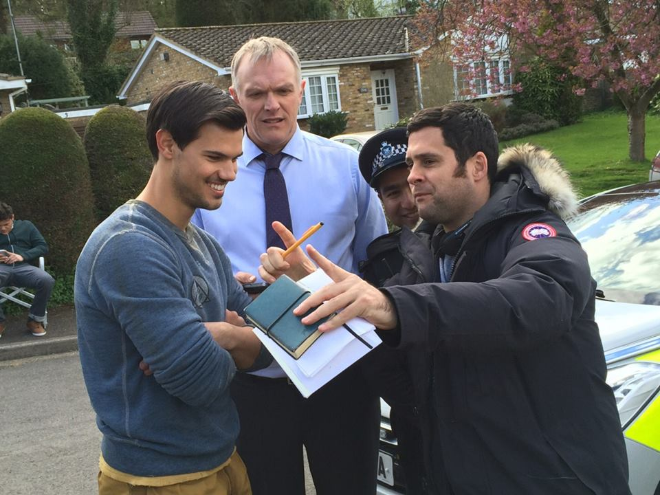 Taylor on set in London filming season 2 of CUCKOO