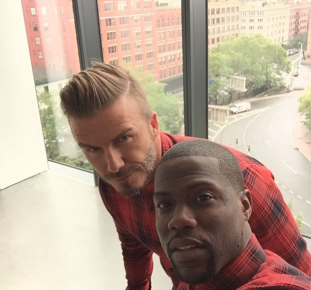 David Beckham & Kevin Hart Hang Out During H&M Campaign
